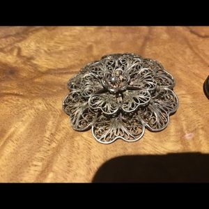 Large Silver Victorian Filagree Pin or Pendant